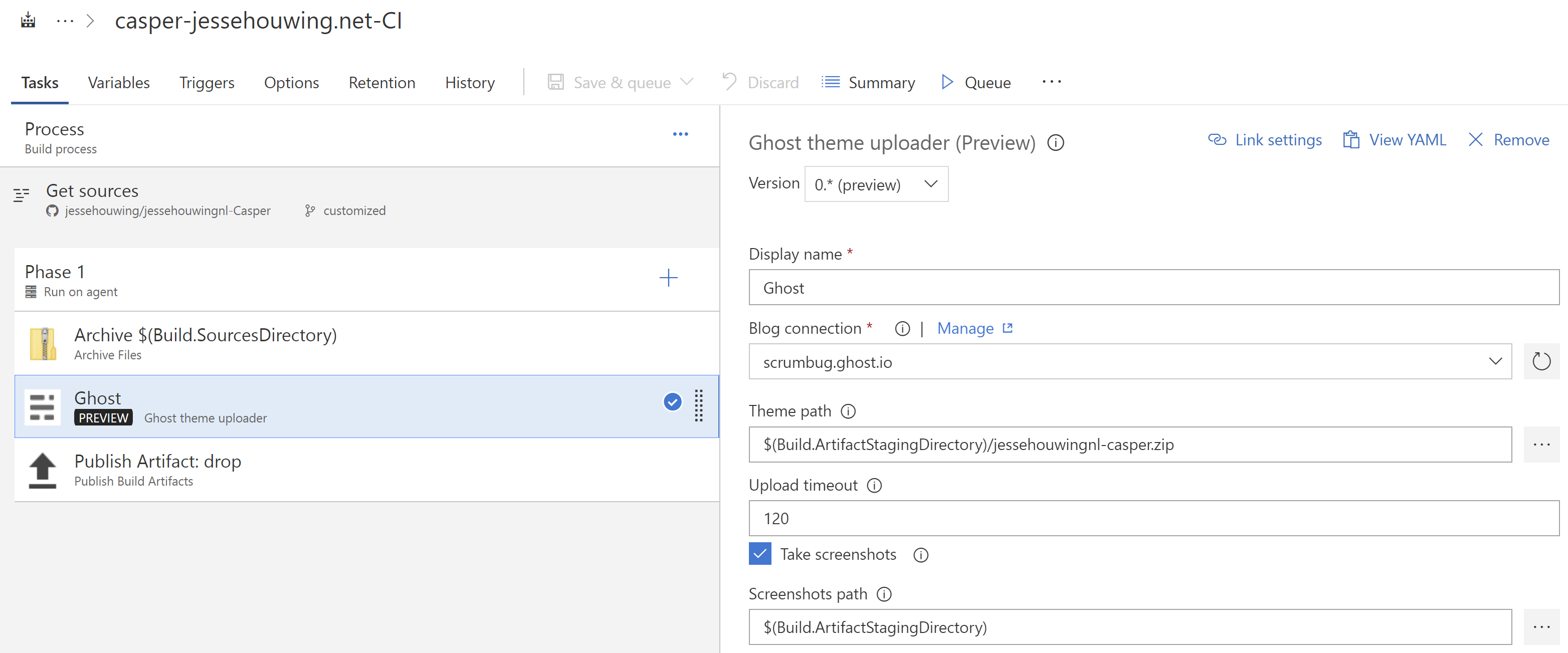 Continuous Delivery of customized Ghost themes using VSTS