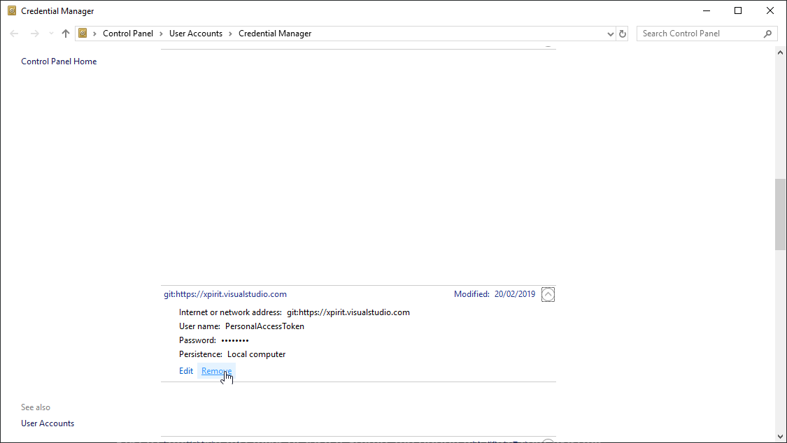 Configure Visual Studio to use a different Git Credential