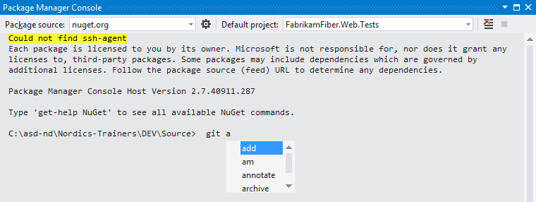 Use Git commandline directly from Visual Studio