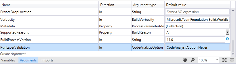 Properly incorporate MsBuild arguments into your build process template